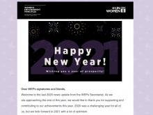 This is a screenshot of the introductory note to the WEPs news update. Being the last news update for 2020 it features our WEPs logo in black followed by a graphic with fireworks and the text 'Happy New Year'.