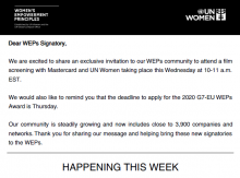 The image is a screenshot taken of the first paragraphs of the weps news update. In the image you see the WEPs logo and black banner on top of the image and then a message of the latest updates from the WEPs Secretariat.