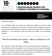 Image showing the introduction to the Bulletin. Above the text there is a banner graphic celebrating that the Women's Empowerment Principles are turning 10 years this year.
