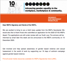 The image is a screenshot of the first page of the WEPs news update. It includes an introductory message. The head banner is in orange in support of the 16 days of activism against gender based violence.