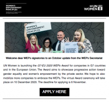 Image showing the introduction to the Bulletin. In the image there is a picture of smiling people holding signs saying the women's empowerment principles. Below the image is the introduction paragraphs of our Bulletin and a button for the reader to press if they would like to apply for the 2020 G7-EU WEPs Award.